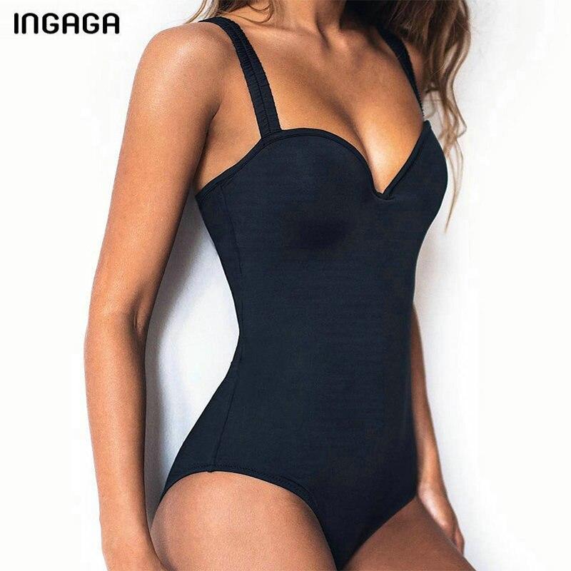 INGAGA Sexy une pièce maillot de bain Push Up maillots de bain femmes solides maillots de bain été vêtements de plage nouveau 2019 maillots de bain femmes