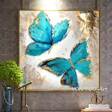 Ручная роспись абстрактное искусство голубая бабочка масляная живопись на холсте художественная настенная живопись для настенные картины для гостиной украшение дома