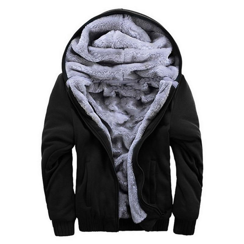 Hoodies Sweateshirts Men Winter Warm Thick Plus Velvet Hoodies Jacket Parkas Casual Solid Streetwear Mens Cardigan Coat