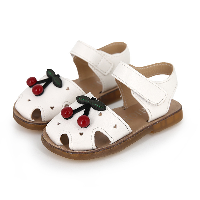 Toddler Girls Genuine Leather Soft Closed Toe Princess Flat Shoes Summer Sandals