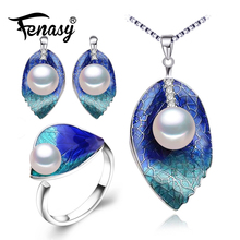 FENASY Pearl Jewelry sets 925 Sterling Silver stud earrings,natural Pearl leaf necklace for women Cloisonne earrings ring set