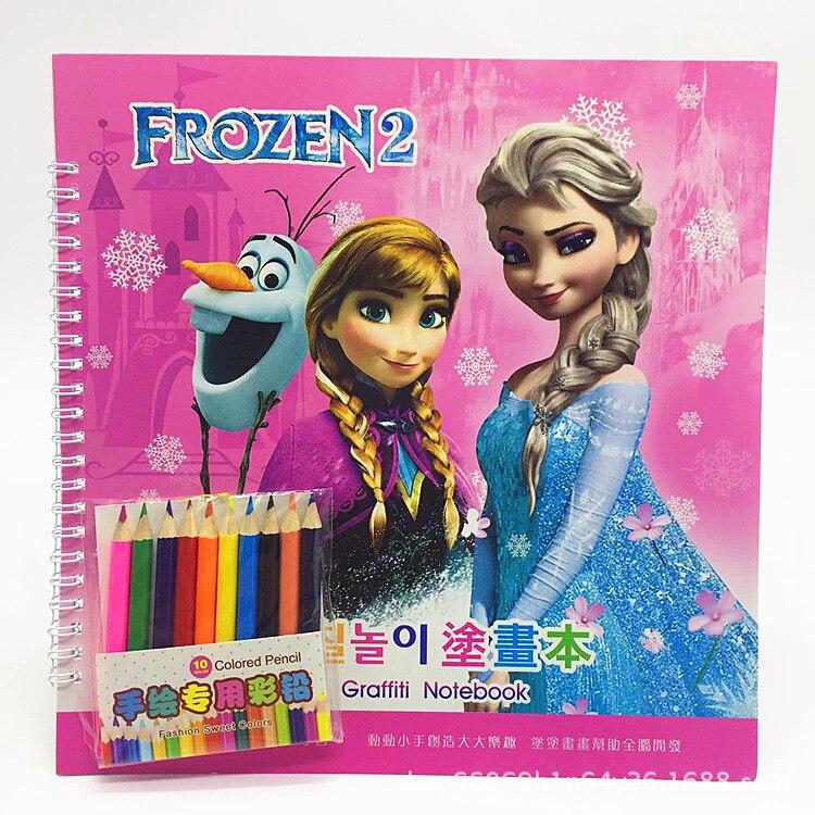 Disney Princess Graffiti Notebook Frozen Sophia Car Mobilization Coloring Book Painting Supplies Boy Girl Puzzle School Supplies