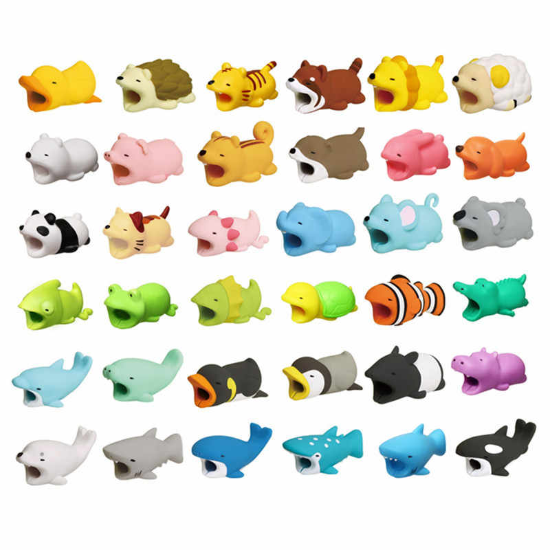 Cartoon Panda Cats Shark bite Cable Protector Data Line Cord Protective Cable Winder Cover For iPhone USB Charging Cable