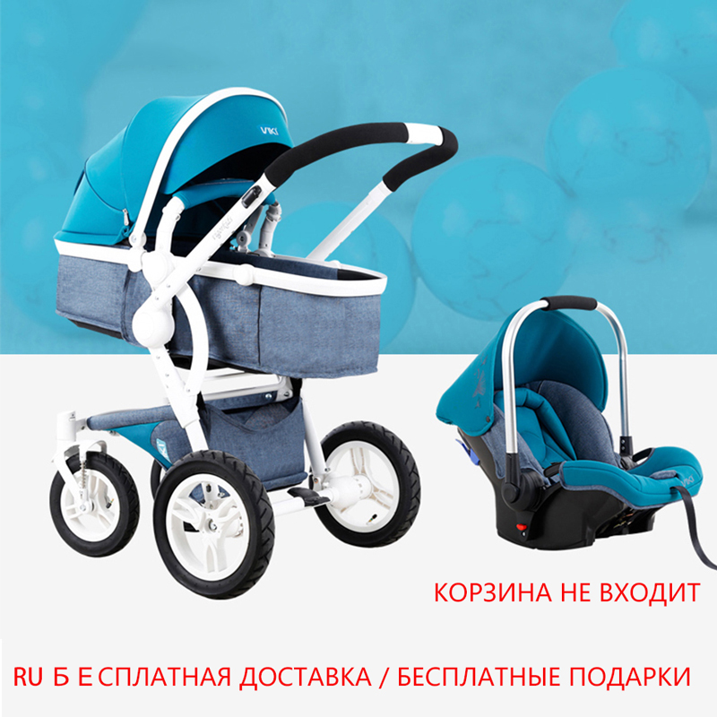 VIKI High Landscape Baby Stroller Reversible 2 in 1 Lightweight Stroller Portable Luxury Shock Absorption Travel Pram Carriage