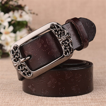 top Brand Designer Women Black Pin Buckle Butterfly Genuine Leather Western Waist Belt Jeans Womens Top Quality Clothing