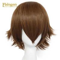 Ebingoo Czepek do włosów + Anime Voltron legendarny, który, nie wiadomo jak, znalazł Pidge krótkie proste brązowy peruka syntetyczna cosplay żaroodporne włosów peruki