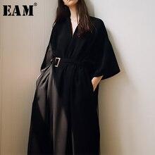 [EAM] 2021 New Spring Summer V-Neck Half Sleeve Black Loose Waist Bandage Pocket Long Big Size Dress Women Fashion Tide JT063