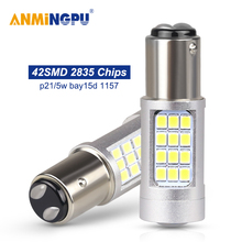 ANMINGPU 2x Car Led Signal Lamp Bay15d P21/5w 1157 42SMD 2835Chips 1157 Led White Yellow Led Auto Stop Brake Lights Tail Light стоимость