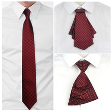 Tie mens formal business easy to pull lazy zipper tie 8CM wine red bordeaux groom wedding