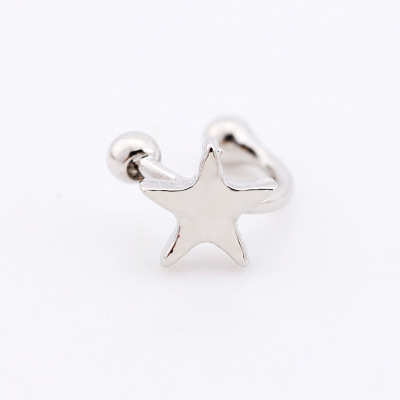 Europe and the United States hot  explosion retro five-pointed star love moon without ear piercing u-shaped earrings wholesale 3