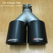 51mm 57mm 63mm Inlet 90mm Dual Outlet Muffler Car Exhaust Tail Pipe Escape Carbon Fiber Universal align trex 550 90mm carbon fiber tail blade hq0900ctrex 550 spare parts free shipping with tracking