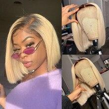 Wigirl 08-16 polegadas reta 1b 613 cor loira 13x1 t parte perucas do laço curto bob 150 densidade brasileiro remy perucas de cabelo humano