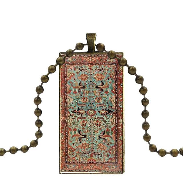For Unisex Glass Cabochon Jewelry Bronze Color With Long Pendant Choker Rectangle Necklace Ethnic Persian Carpet Floral Pattern