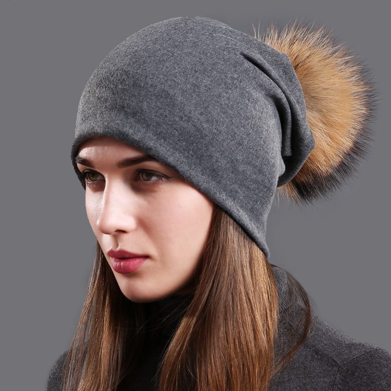Women's Cotton Beanie Hat Autumn Raccoon Fur Pompom Slouchy Beanies for Femme Winter Skullies&Beanies with Real Pompom Balls