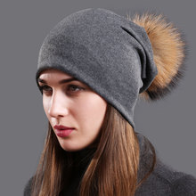 Womens Cotton Beanie Hat Autumn Raccoon Fur Pompom Slouchy Beanies for Femme Winter Skullies&Beanies with Real Balls
