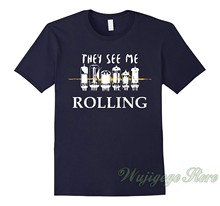 Summer funny print Tube Rolling Audiophile Headphones Amp Hi-Fi t shirt men women tops tee 100% cotton tshirts(China)