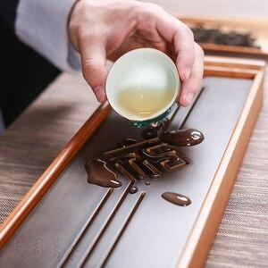Image 5 - [GRANDNESS] オリジナル竹茶トレイ黒卓上中国 Gongfu 茶サービング竹テーブル水ドリップトレイ 39*13 センチメートル