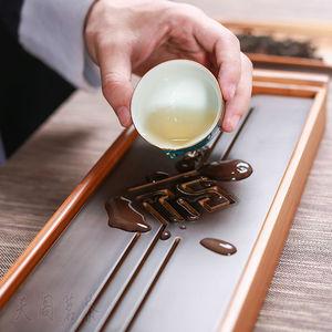 Image 5 - [גדולתו] מקורי במבוק תה מגש שחור שולחן הסיני Gongfu תה הגשת במבוק שולחן מים בטפטוף מגש 39*13cm