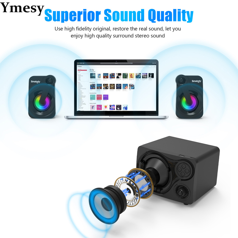 Ymesy Computer Speakers with Subwoofer Cool Colorful LED, Multimedia Speaker Compatible with Gaming PC, Desktop, Laptop 2021New