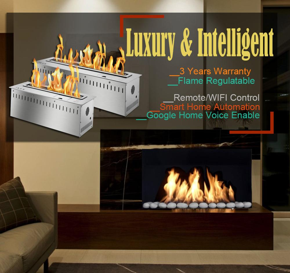Inno Living  60 Inch Luxury Indoor Used Ethanol Fireplace Remote