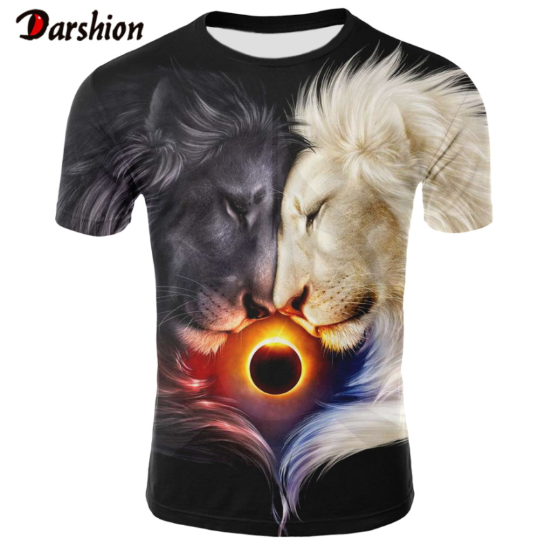 Hot Sell 3D Print Double Lightning Lion Men's Casual Cool Tshirts Men Short Sleeve Summer Tops Tees T Shirt Fashion Dropshipping