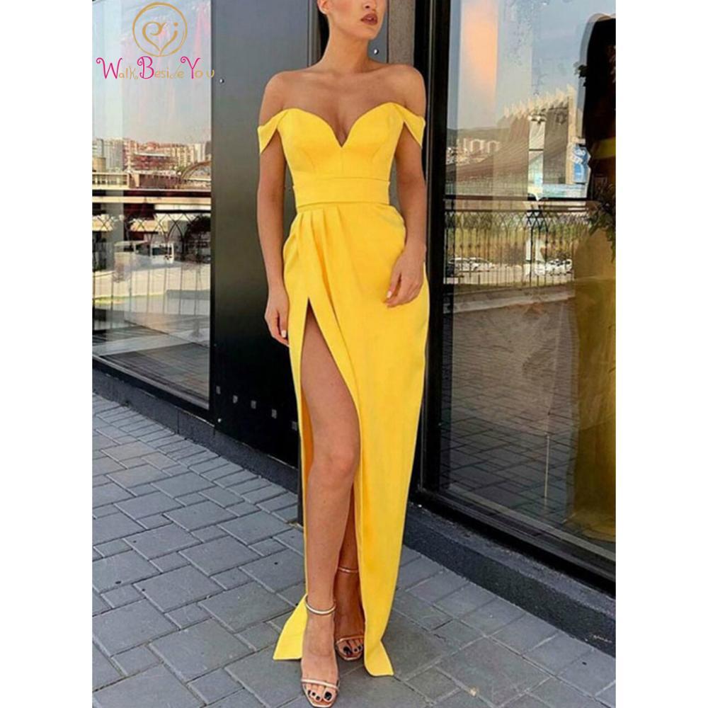 Купить женское вечернее платье с юбкой годе желтое атласное плиссированное