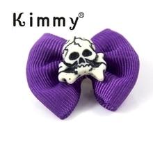 40pcs Halloween Skull Dog Bow Tie Handmade Purple Celebrate Dress up Puppy Pet