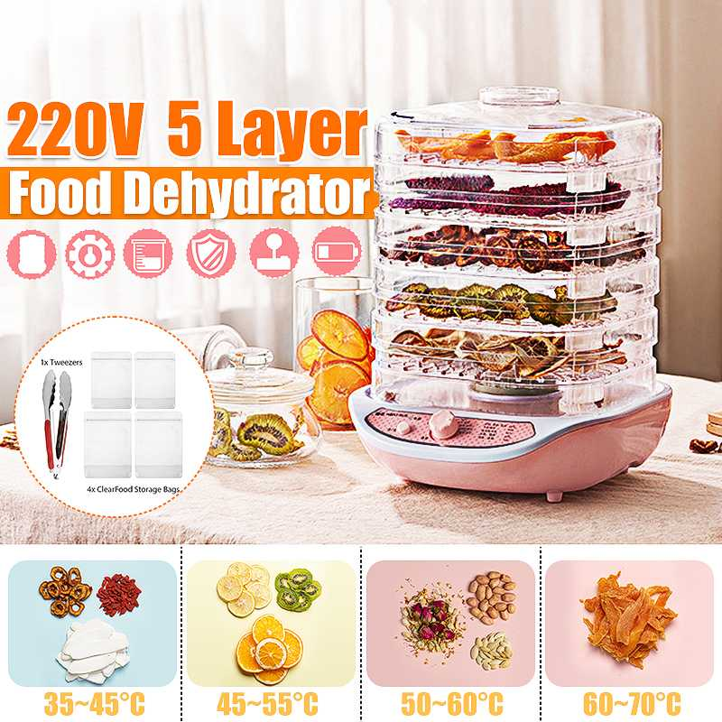 Dried Fruit Vegetables Herb Meat Machine Household MINI Food Dehydrator Pet Meat Dehydrated 5 Trays Snacks Air Dryer