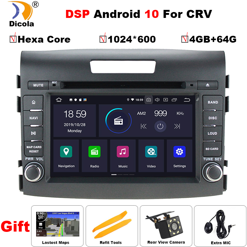 PX6 DSP Car Radio <font><b>Multimedia</b></font> Player 2 din Android 10 Auto DVD Radio navigation for <font><b>Honda</b></font> <font><b>CRV</b></font> <font><b>2012</b></font>-2016 stereo wifi navi gps image