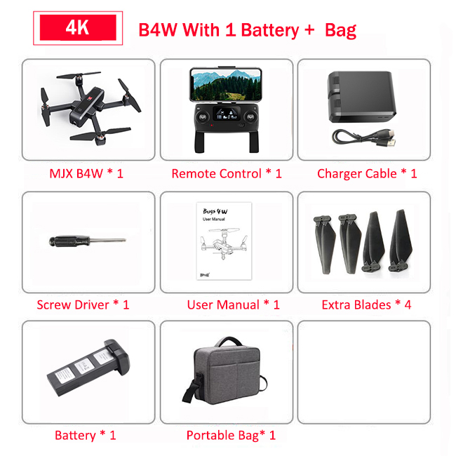 MJX Bugs 4W B4W Brushless RC Drone with Camera 4K 5G WIFI FPV GPS Ultrasonic Optical Flow Positioning Drone Foldable Quadcopter