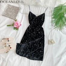 OCEANLOVE пикантные вечерние платье Бисер алмазы с v-образным вырезом Мини-платья с низким вырезом на спине, Vestidos бархат блестками облегающее тонкое женское платье 12035