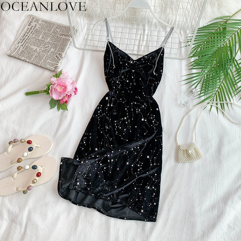 OCEANLOVE Sexy Party Dress Beading Diamonds V-neck Mini Dresses Backless Vestidos Velvet Sequined Bodycon Slim Women Dress 12035