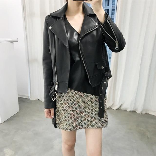 FTLZZ New Autumn Women Pu Leather Jacket Woman Zipper Belt Short Coat Female Faux Leather Black Motorcycle Outwear Biker Jacket 3