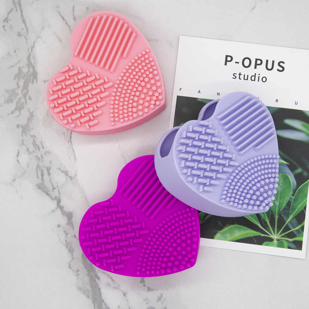 Mukasi Silikon Riasan Sikat Cleaning Makeup Brushes Cleaner Jantung Sarung Tangan Kosmetik Sikat Cleaning Mat Portable Alat Cuci