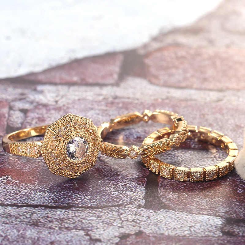 هويتان العصرية الفاخرة 3 قطعة خاتم زفاف مجموعات نوبل الملكي الذهبي اللون مع حجر زركونيا مكعب مصنع الجملة النساء ميدي الدائري