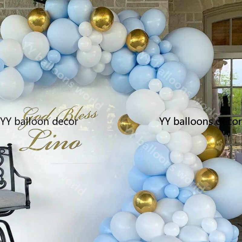 DIY 172 шт./компл. самодельный шар гирлянда синего цвета Macaron белый латекс золото при воспроизведении музыки, хороший подарок на день рождения, свадьбу, Новый Год Вечерние Декор