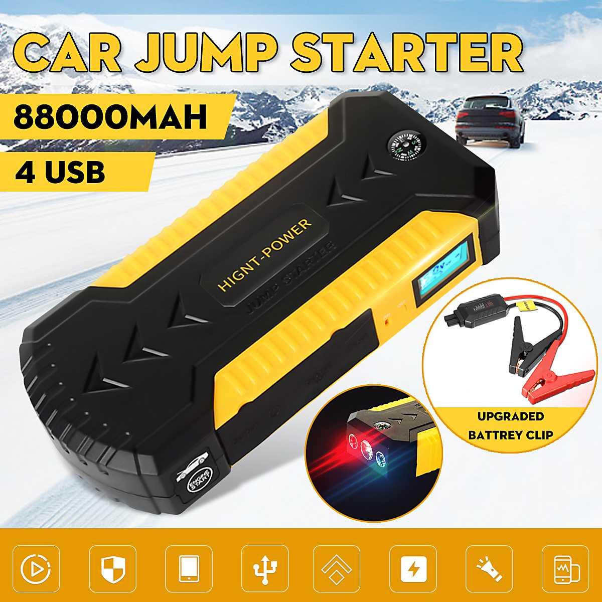 12V 82800MAh 600A Jump Starter SetEngineฉุกเฉินStart Over-Currentป้องกันแบตเตอรี่ 4 USB Power Bank LED W/คลิป