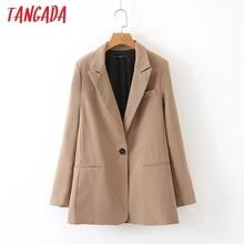 Tangada женский модный однотонный блейзер с карманом на одной пуговице,, осенне-зимний офисный Женский блейзер для работы, костюм, верхняя одежда QB20