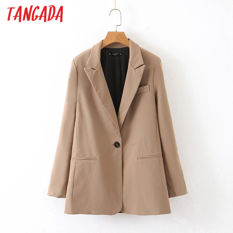 Tangada Women Fashion Solid Blazer Pocket One Buttons 2019 Atumn Winter Office Lady Work Blazer Suit Outwear QB20
