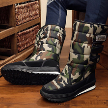 Men's Winter Shoes Hook Loop Comfortable Snow Boots Man Rubber Nylon Plush Mid-calf Boots For Men Platform Army Green snow boots for kids winter shoes rubber boots waterproof unisex mid calf hook