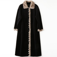 Fashion Mink Collar Coat Sheepskin Black Winter Luxury Long Loose Thick Warm Real Fur Office Wool Overcoat High Quality Outwear