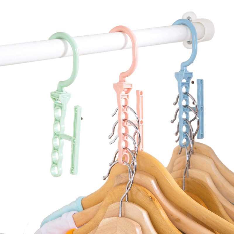 5 サークルプラスチック乾燥洗濯服ハンガーオーガナイザー多層防風ホルダーバックル世帯抗スリップフッククリップ