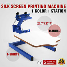 "Silk Screen Machine Manual 17.7""x21.7"" (45x55cm) 1 Color 1 Station For T-Shirts"