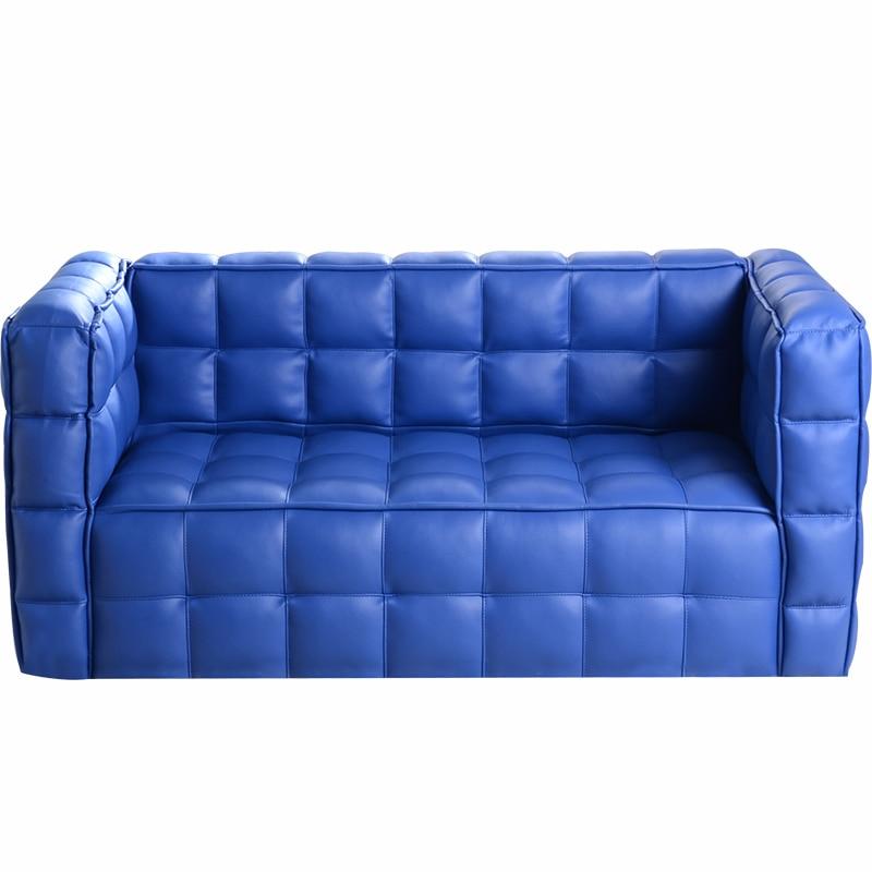 Blue Plaid Children Sofa Kindergarten Group Close Skin Baby Sofa Two Seat Bread Sofa Chair Bean Bag Zitzak Kids Bedroom