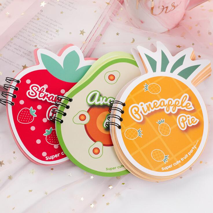 New 60 Sheets Kawaii Korean Strawberry Pear Pocket Coil Mini Notebook Spiral Check List To Do It Planner School Stationery
