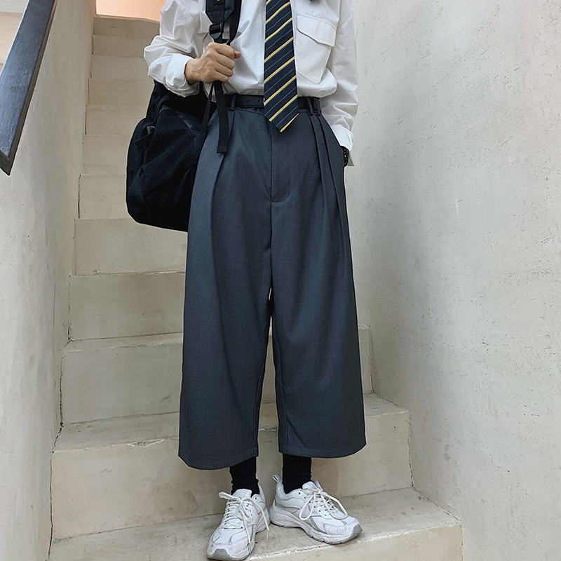 Men Vintage Fashion Loose Casual Wide Leg Harem Pants Male Women Streetwear Hip Hop Straight Suit Pants Harajuku Trousers