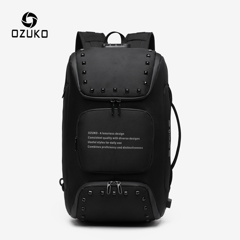 OZUKO Multifunctional Backpack Men Fashion USB 15.6 Inch Laptop Backpacks Male Anti-theft Waterproof Backpack Travel Mochila