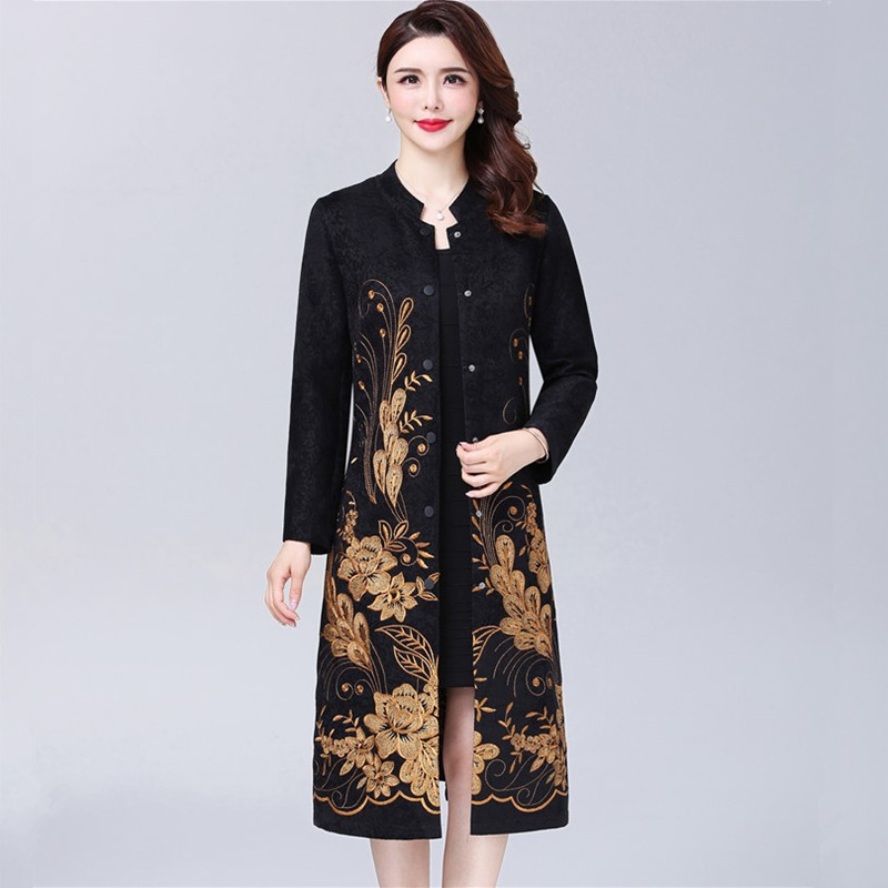 Middle Aged Mother Autumn Coat Fashion Temperament Thin Long Windbreaker Retro Embroidered Ladies   Trench   Coat Plus Size 5XL 164