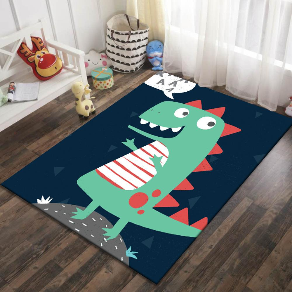 Crystal Velvet Infant Baby Play Mat Dinosaur Children Kids Rug Cartoon Non-slip Carpet Living Room Mat Baby Climbing Game Pad