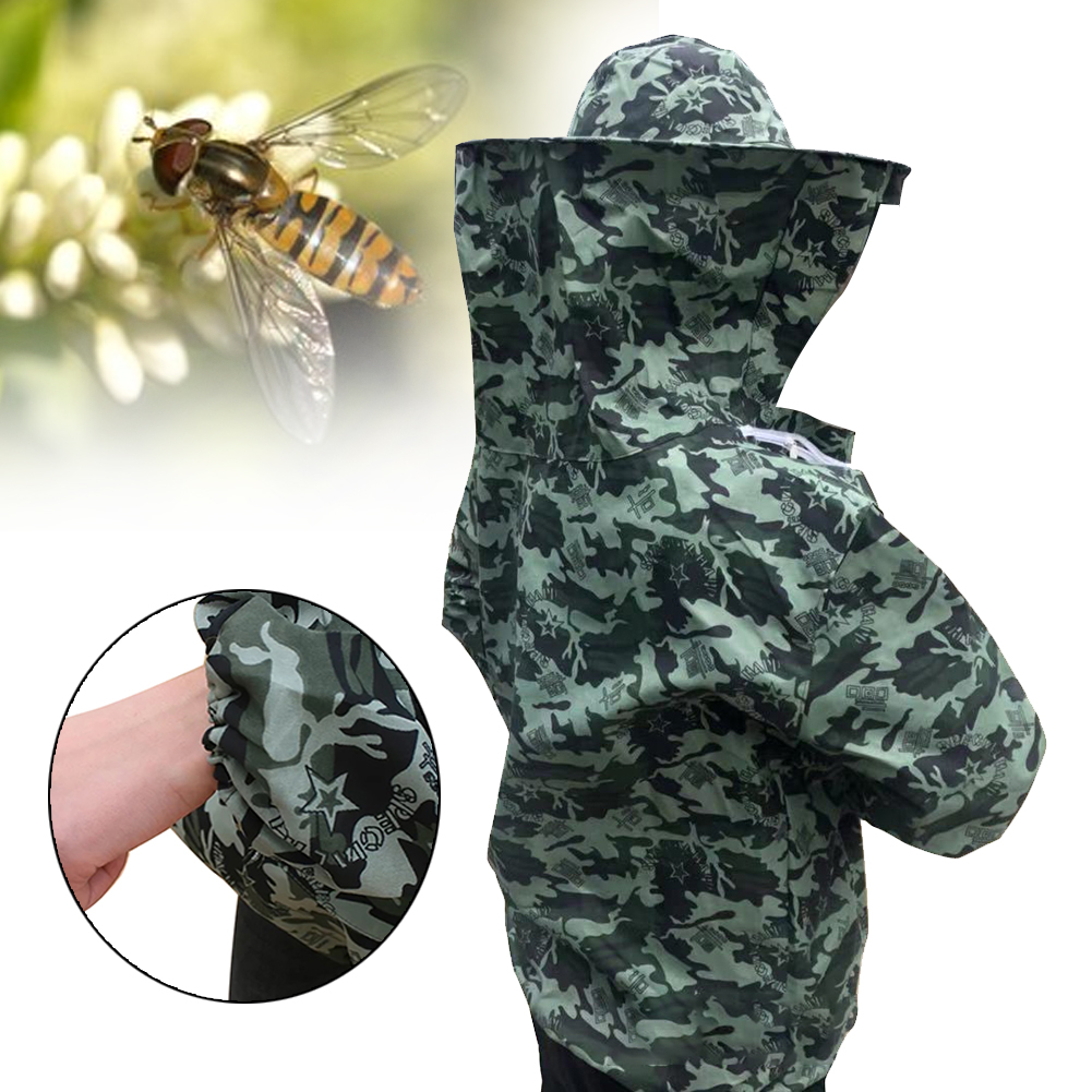 Beekeeping Clothing Anti Bee Protective Suit Professional With Hood Camouflage Veil Upper Body Summer Farm Unisex Costume